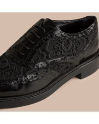 Burberry Black Leather And Lace Wingtip Brogues for men
