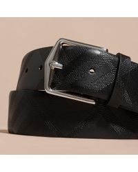 Burberry Leather Trim London Check Belt Black for men