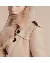 Burberry Natural Shearling Trench Coat