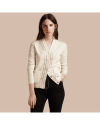 Burberry Multicolor Cotton V-neck Cardigan With Studs