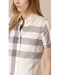 Burberry - Short-sleeved Check Cotton Shirt Natural - Lyst