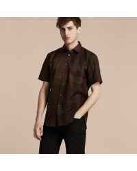 Burberry Brown Short-sleeved Check Cotton Shirt Chocolate for men