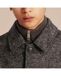 Burberry Gray Brushed Melange Wool Car Coat for men