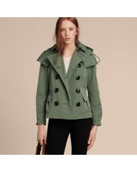 Burberry Multicolor Showerproof Taffeta Trench Jacket With Detachable Hood Eucalyptus Green