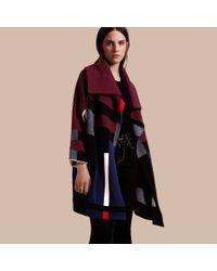 Burberry Black Check Wool Cashmere Cardigan Coat