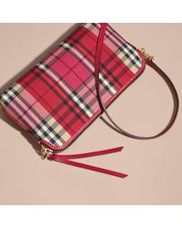 Burberry Multicolor Overdyed Horseferry Check And Leather Clutch Bag