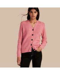 eee4eb6076b Women's Check-knit Wool Cashmere Cardigan Hydrangea Pink Melange