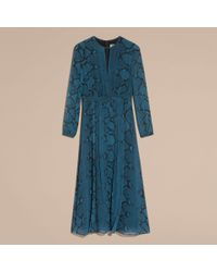 Burberry Blue Python Print Silk Dress