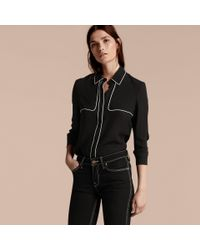 Burberry Black Silk Shirt With Contrast Detail