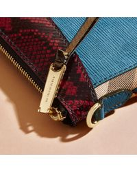 Burberry Leather, House Check And Snakeskin Clutch Bag Peacock Blue