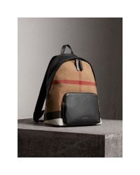 Burberry - Black Canvas Check And Leather Backpack for Men - Lyst