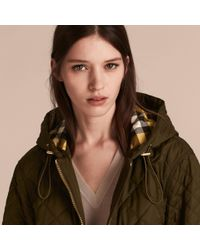 Burberry Green Diamond Quilted Hooded Jacket With Check Lining Dark Olive