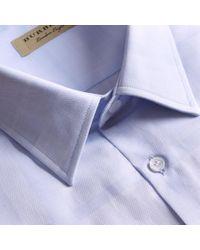 Burberry Modern Fit Check Cotton Poplin Shirt Pale Blue for men