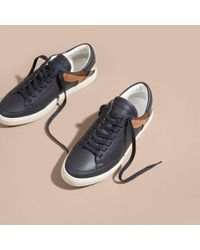 Burberry Blue Leather And House Check Trainers Check/true Navy for men