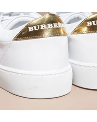 Burberry Metallic Detail Leather Trainers Antique Gold/optic White