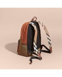 Burberry | Leather And House Check Trim Technical Backpack Deep Taupe Brown for Men | Lyst