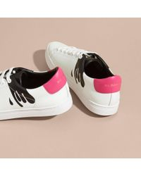 Burberry - Splash Motif Leather Trainers Optic White/black - Lyst
