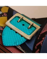 Burberry The Small Buckle Bag In House Check And Leather Teal Blue