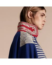 Burberry Blue Braided Wool Blend Military Cape