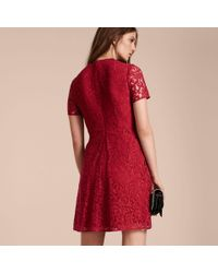 Burberry Fit-and-flare Dropped-waist Lace Dress Parade Red