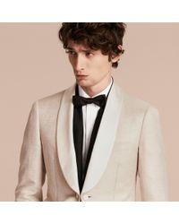 Burberry Natural Slim Fit Shawl Lapel Linen Silk Evening Jacket Stone for men