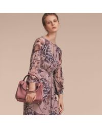 Burberry Pink Peony Rose Print Silk Dress With Puff Sleeves