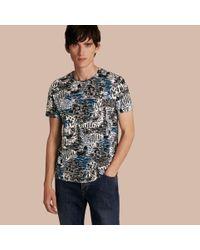 Burberry Brit   British Seaside Print Cotton T-shirt Steel Blue for Men   Lyst