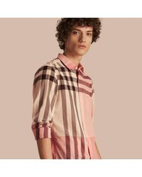 Burberry | Check Cotton Poplin And Linen Shirt Rose Pink for Men | Lyst
