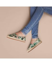 Burberry Peony Rose Print Canvas Espadrilles Emerald Green
