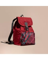 Burberry - Check Detail Technical Packaway Rucksack Hawthorn Red for Men - Lyst