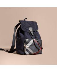 Burberry | Blue Check Detail Technical Packaway Rucksack Navy for Men | Lyst