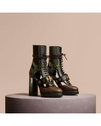 Burberry Leather And Snakeskin Cut-out Platform Boots Deep Green