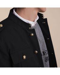 Burberry Black Military Cotton Jacket for men