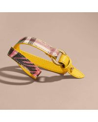 Burberry - Multicolor Peony Rose Print Haymarket Check Wrap Bracelet Larch Yellow/emerald Green - Lyst