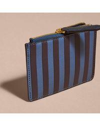 Burberry - Blue Pyjama Stripe London Leather Zip-top Wallet - Lyst
