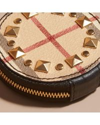 Burberry Black Studded Haymarket Check And Leather Coin Case