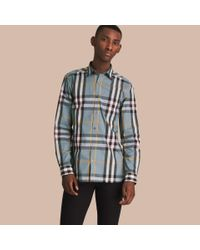 Burberry Check Stretch Cotton Shirt Mineral Blue for men