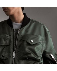 Burberry Green Contrast Collar Lightweight Bomber Jacket for men