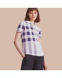 Burberry | Check Stretch Cotton Piqué Polo Shirt Pale Blue | Lyst