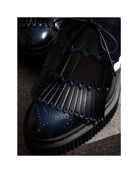 Burberry Blue Two-tone Lace-up Kiltie Fringe Leather Shoes