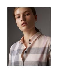 Burberry - Multicolor Check Cotton Shirt Apricot - Lyst