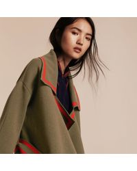 Burberry Green Stretch Wool Cashmere Cardigan Coat With Shearling Collar