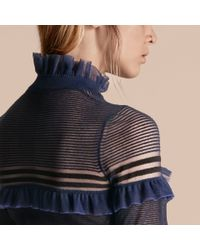 Burberry Blue Sheer Striped Sweater With Ruffles