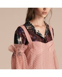 Burberry Blue Embroidered Tulle Off-shoulder Corset Dress