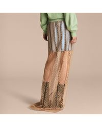 Burberry Multicolor Braided Tulle Column Skirt With Striped Lining Bright Toffee