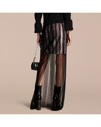 Burberry Braided Tulle Column Skirt With Striped Lining Black