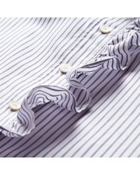 Burberry Blue Ruffle Detail Striped Cotton Tunic for men