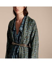 Burberry Blue Geometric Tile Print Silk Twill Dressing Gown Coat