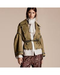 Burberry Blue Stretch Cotton Military Jacket