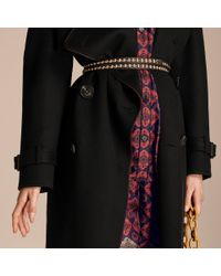 Burberry Black Deconstructed Cashmere Wool Trench Coat With Piping